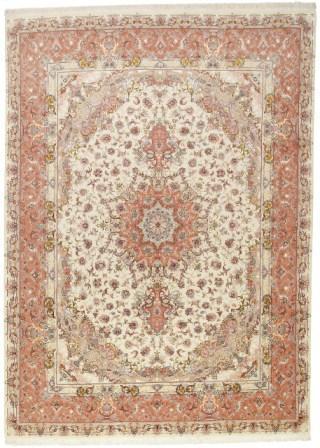 60 Raj Tabriz Persian rug with a silk foundation. 11x8 silk 400KPSI Tabriz Persian carpet