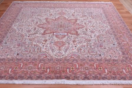 8x8 2.5m square 50 raj 350 kpsi Tabriz Persian rug.
