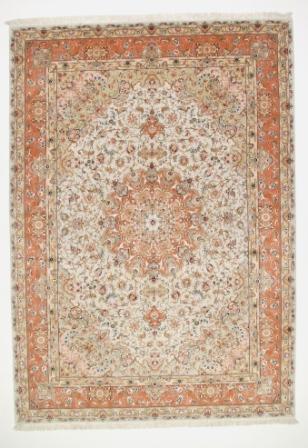 60 Raj Tabriz Persian rug with a silk foundation. Masterpiece Tabriz Persian carpet.