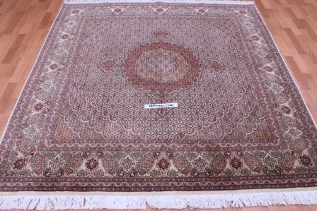 Square Pirouzian Tabriz Persian rug. 50 raj 350 kpsi Tabriz Persian carpet.