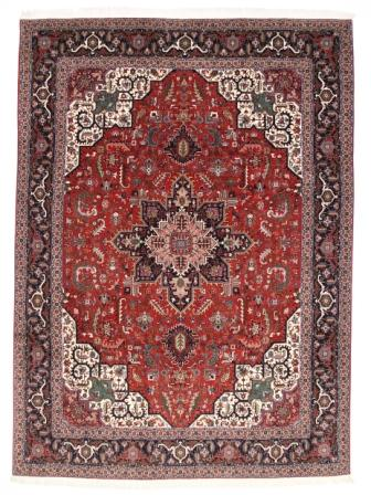 50 Raj Tabriz Persian rug with a rusty red and blue color. High Quality  Tabriz