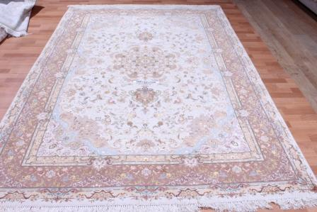 70 Raj silk Tabriz Persian rug with 600 KPSI. 10x7 high quality Tabriz Persian carpet.