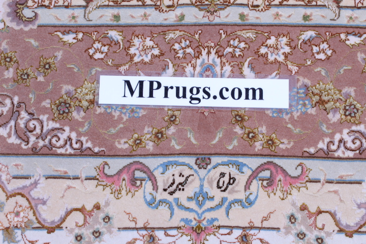 70 Raj silk Tabriz Persian rug with 600 KPSI. 10x7 high quality Tabriz Persian carpet