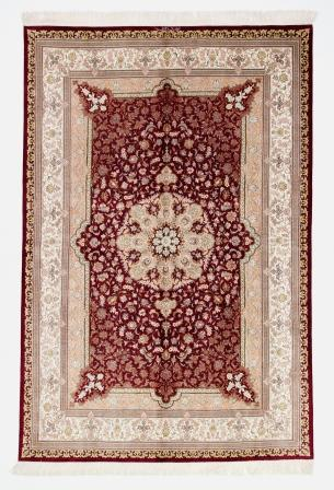 High quality red colored Qom silk Persian rugs. Pure Silk Qum Persian carpet with beige red colors.
