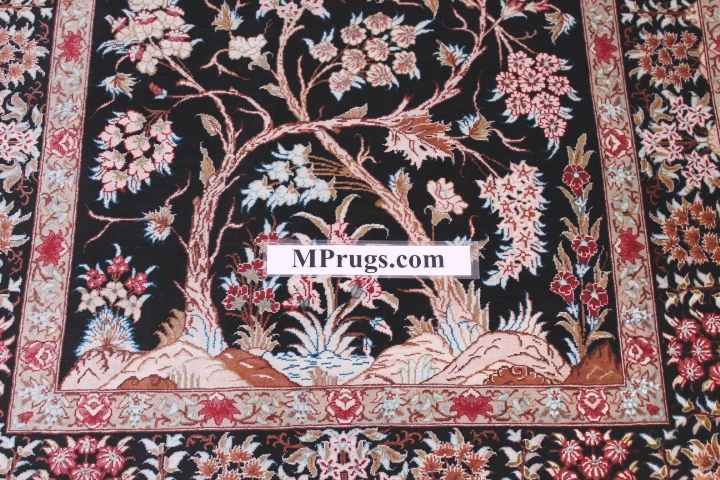 Tree Of Life Silk Qum Persian Rug