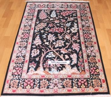 3x5 silk Tree of Life pictorial qum Persian rug with signature