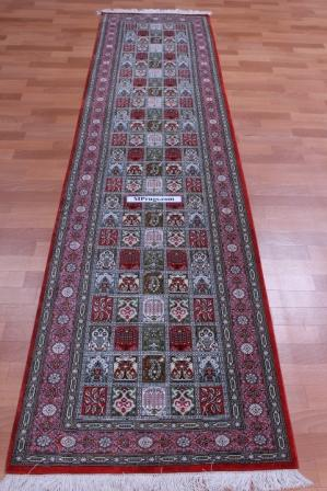 10' by 2' runner, pure silk qum persian rug 600 kpsi