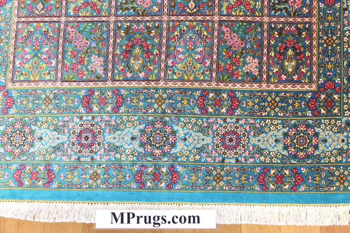 3x5 pictorial silk qum Persian rug with signature; 800 kpsi Qum silk carpet