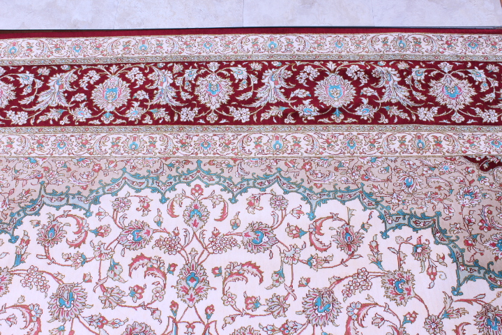 8' (2,5m) Square High quality handmade pure silk square Qum Persian rug with 650+ KPSI