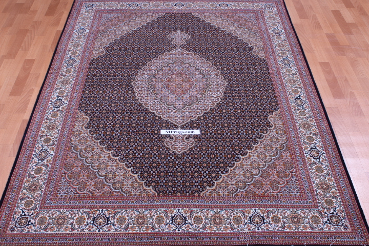 Dark Mahi Tabriz Persian Rug Signed Carpet