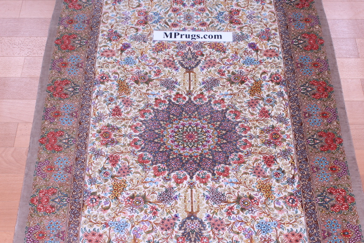 Long Qom silk Persian rugs runner. Pure Silk Qum Persian carpet runner.