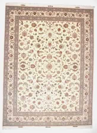 50 Raj Tabriz Faraji Persian rug with 350 kpsi. Genuine Faraji Tabriz Persian carpet 13x9.