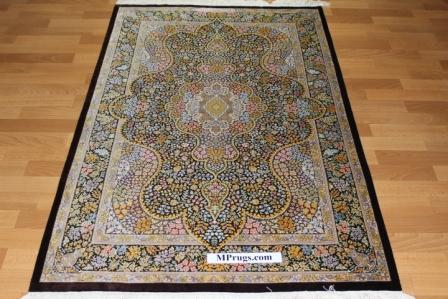 5x3 silk qom Persian rug with 900 kpsi; pure silk brown Qum Persian carpet. Genuine pure silk qom Persian rug