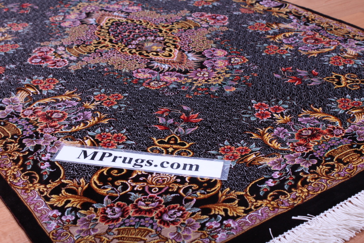 4x2 silk qum Persian rug 650 kpsi, silk Qom carpet