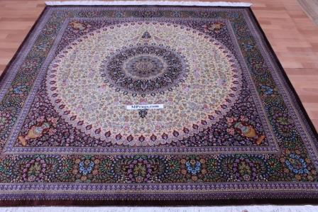 Square silk Qum Persian rug with 900 KPSI & Signature