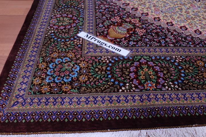 Square silk Qum Persian rug with 900 KPSI & Signature