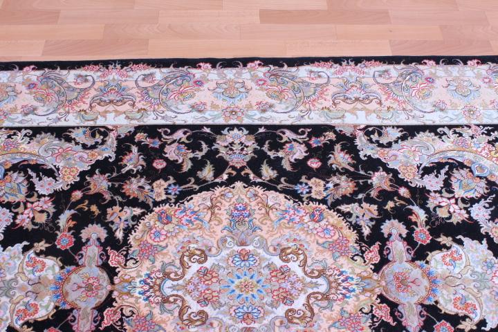 Silk Tabriz Persian rug, silk black Tabriz carpet