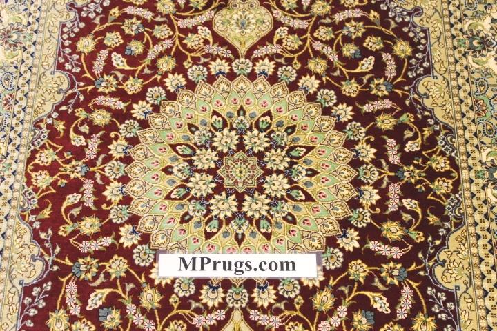 3x5 800 kpsi qum Persian rug with signature; masterpiece Qum silk carpet