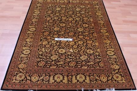 6x4 versace floral Qom silk Persian rugs. Pure Silk Qum Persian carpet with dark and gold colors