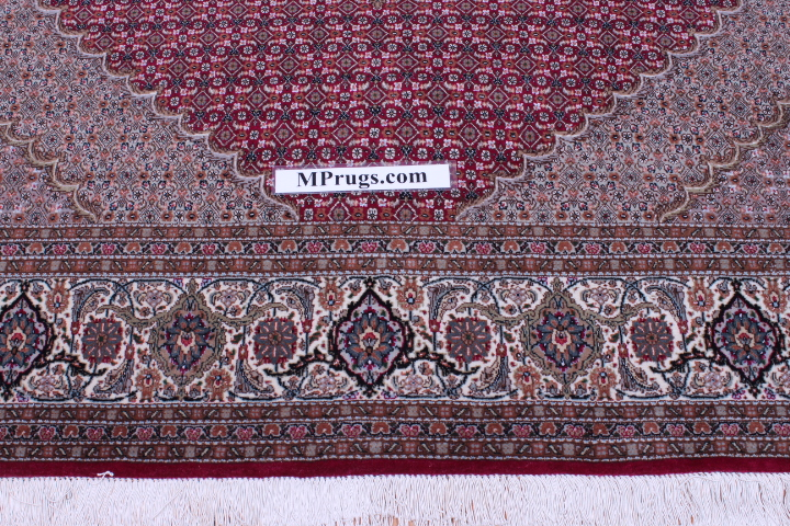 red signed Mahi Tabriz Persian rug. 350 kpsi Mahi Tabriz Persian carpet