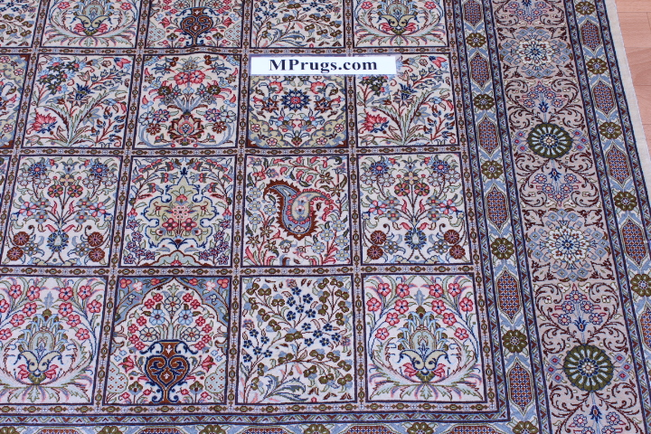 6x4 tile pattern pure silk Qum Persian rug