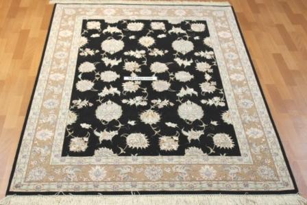 Black Silk Tabriz Persian rug. 400 KPSI silk Tabriz Persian carpet.