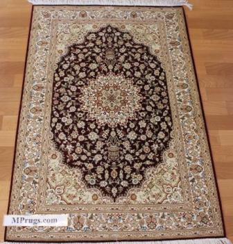 4x2 burgundy qum Persian rug with signature