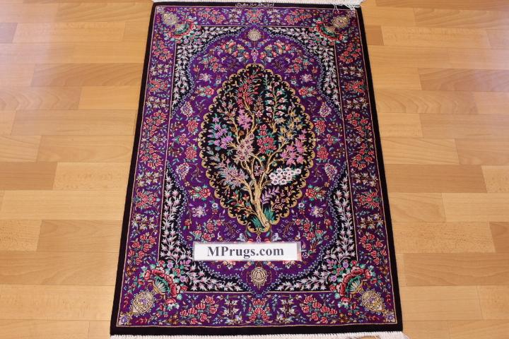 3x2 purple qum Persian rug, signed qom carpet