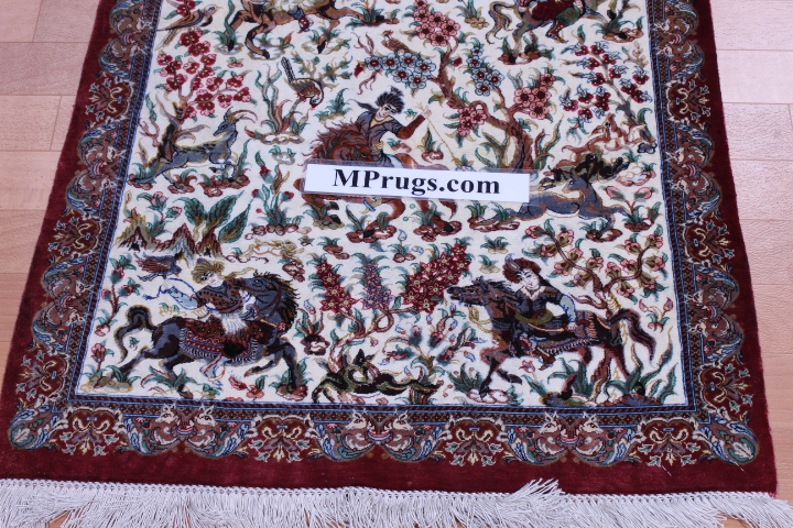 6' by 2' pure silk pictorial hunting qum persian rug with 800 kpsi