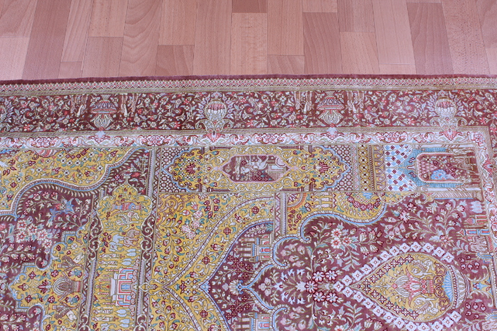 4x2 silk qum Persian rug, signed qom carpet
