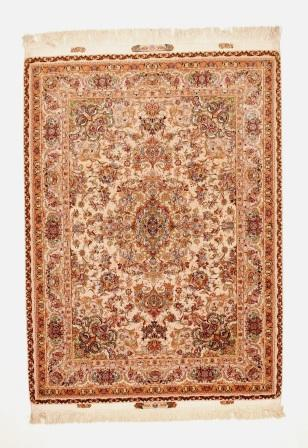 80 Raj 6x4 Tabriz Persian rug with a silk foundation. Beige Novenfar Tabriz Persian carpet 850KPSI.