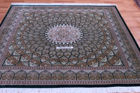 6'x6' 2m square 600kpsi Showpiece Gonbad Qum Persian rug