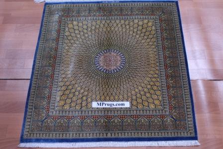 3'x3' 1m square 600kpsi Stunning Gonbad Qum Persian rug