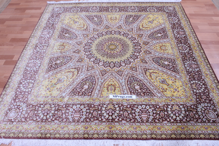 6'6 (2m) square Qum pure silk Gonbad Qom Persian rug.
