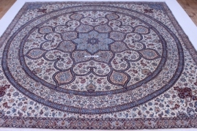 12x12 Square Nain Gonbad Persian rug 6Lah 500kpsi with silk