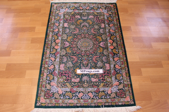 4x2 green 750 kpsi qum Persian rug, signed qom carpet