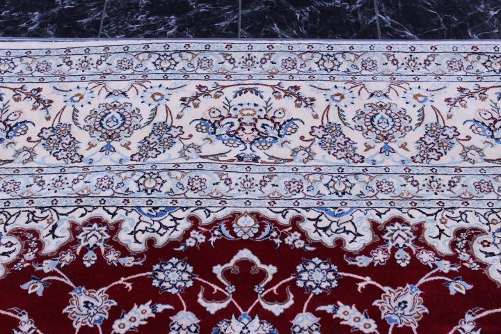 Nain 6Lah dark red Persian rug. Very fine Nain Persian carpet with lots of silk highlights