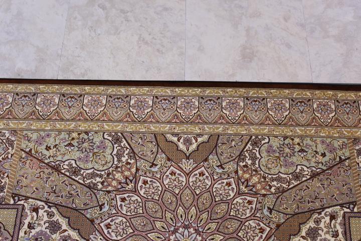 4x2 gonbad qum Persian rug, signed qom carpet