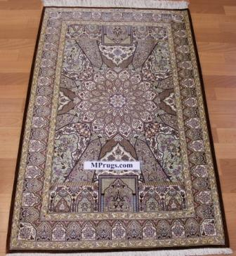4x2 gonbad qum Persian rug, signed qom carpet