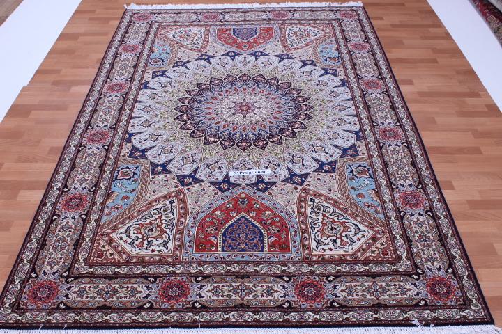 9x6 Gonbad Tabriz Persian rug. Dome Design Jafari Gombad Tabriz carpet.