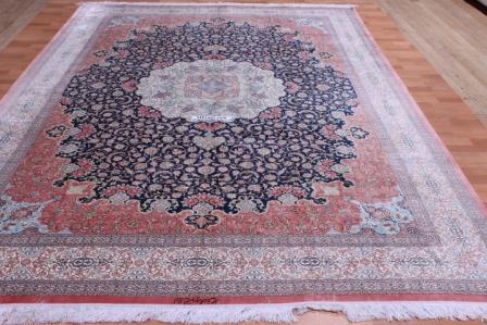 11x8 625 KPSI pure silk qum persian rug
