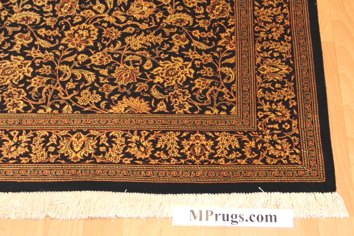 3x5 600kpsi black silk qum Persian rug with signature