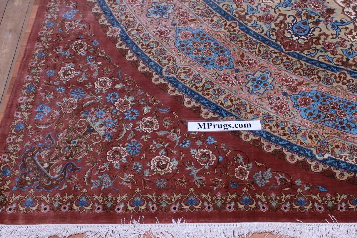 10x10 3m square 900kpsi Masterpiece Gonbad Qum Persian rug.