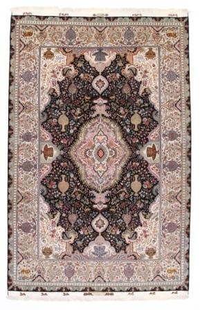 70 Raj black Tabriz Persian rug with a silk foundation. Masterpiece Tabriz Persian carpet.