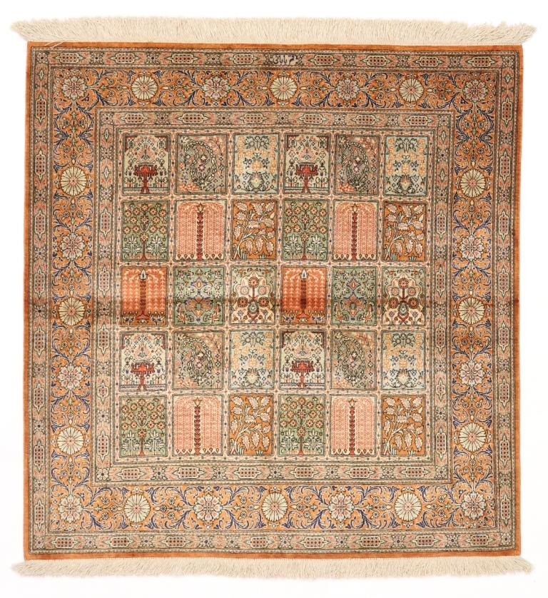 3' 1m square Qom silk Persian rugs. Square pure Silk Qum Persian carpet, square pictorial carpet.