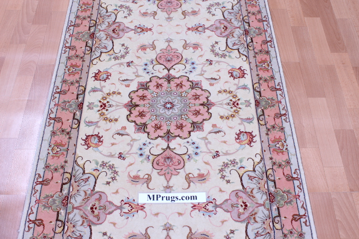 14' 50 Raj Tabriz Persian rug runner. 350KPSI Tabriz Persian carpet.