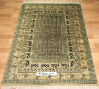 Pictorial Pazyryk pure silk Qom Persian rug. Genuine handmade silk qum Persian carpet picture rug featuring the pazyryk design.