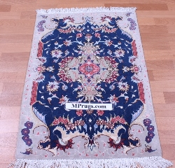 3x2 Tabriz Persian rug with silk highlights.