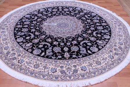 8'x8' (2,5m) Nain Round Persian rug 6-Lah 500 KPSI