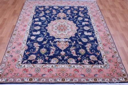 8x5 50 Raj Blue Handmade Tabriz Persian rug